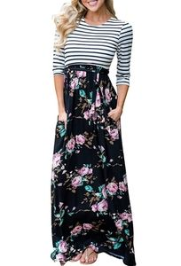 Women's Striped Floral Print Maxi Dress 2XL